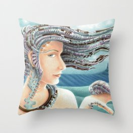 Portrait by the sea 2 Throw Pillow