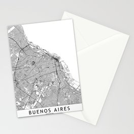 Buenos Aires White Map Stationery Cards