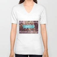 wanderlust V-neck T-shirts featuring Wanderlust by AA Morgenstern