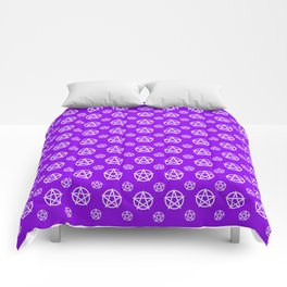 Violet White Pentacle Pattern Comforters
