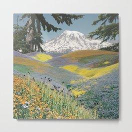 Wildflower Mountain collage Metal Print