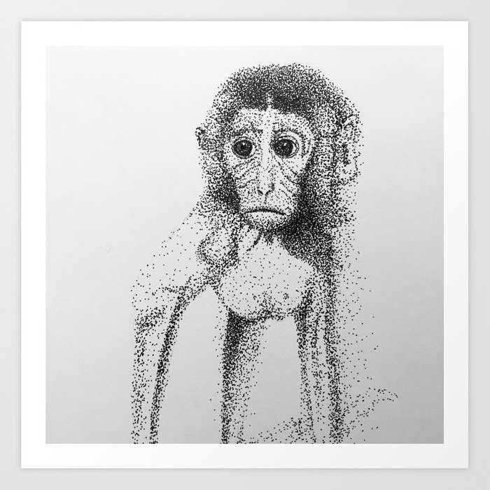 Dotted Monkey Art Print
