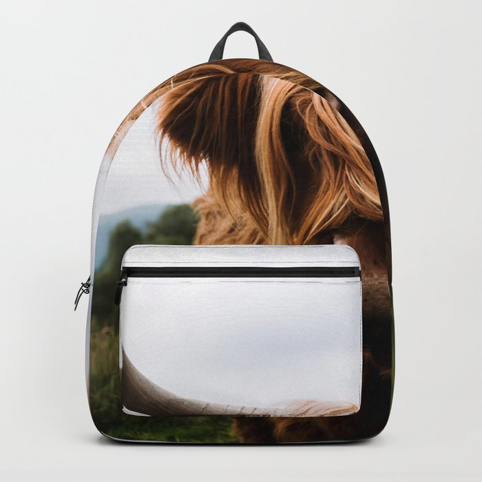 Scottish Highland Cattle in Scotland Portrait II Backpack