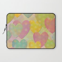 Pastel Colors Flying Hearts Laptop Sleeve