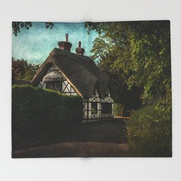 A Berkshire Half Timbered Cottage Throw Blanket