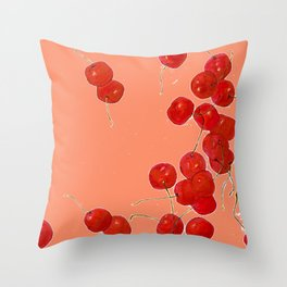 Falling cherries in coral Throw Pillow