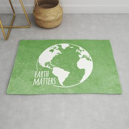 Earth Matters - Earth Day - White Outline On Green Grunge 01 Rug