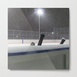 Hockey rink in the snow Metal Print