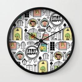 Pattern Stay Happy Animals Wall Clock