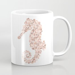 Floral Rose Gold Sea Horse Coffee Mug