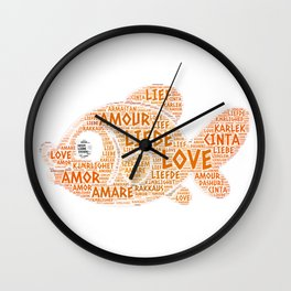 Fish illustrated with Love Word of different languages Wall Clock