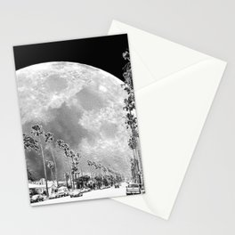 California Dream // Fantasy Moon Beach Sidewalk Black and White Palm Tree Silhouette Collage Artwork Stationery Cards