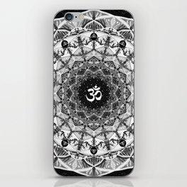 BLACK AND WHITE OM MANDALA iPhone Skin