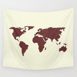 World Map -  Crimson Red on Cream Linen Wall Tapestry