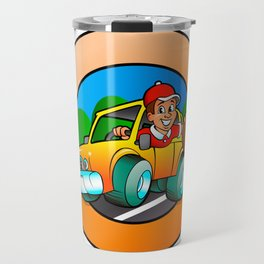 Cartoon man in delivery car Travel Mug