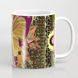 Ornate Mauve Swallow Tailed Butterfly Yellow-Khaki Design Coffee Mug