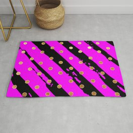 Purple and black stripe gold dot pattern Rug