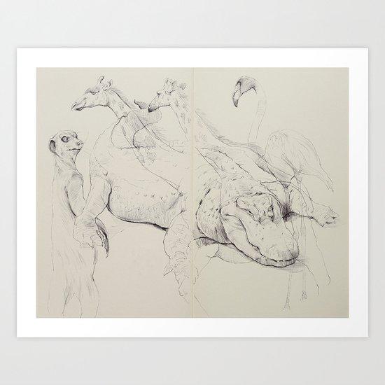 Gator & Giraffe Art Print