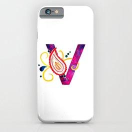 Paisley monogram letter V iPhone Case