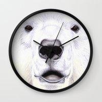polar bear Wall Clocks featuring Polar Bear by StudioBlueRoom