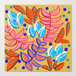 Whimsical Leaves Pattern Canvas Print
