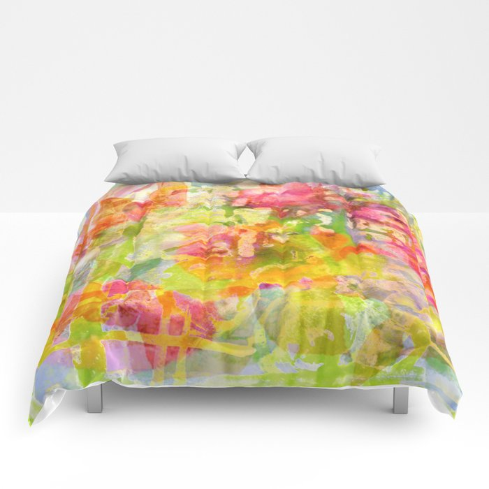 abstract and flowers Comforters
