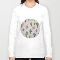 wallpaper Long Sleeve T-shirts featuring Cactus Wallpaper by Jessy Belanger