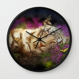 Tiger and Butterfly Wall Clock