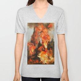 Fire Study #1 Unisex V-Neck