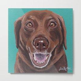 Chocolate Lab Art, Fun Pet Painting Metal Print