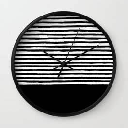 geometric art pattern with medium lines, black and white background Wall Clock