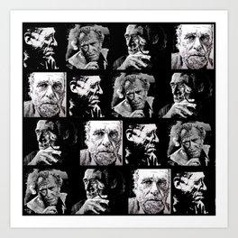 BUKOWSKI - 4 faces Art Print