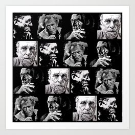 BUKOWSKI - 4 faces Art Print