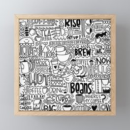 Coffee Lovers Hand-drawn Illustration Framed Mini Art Print