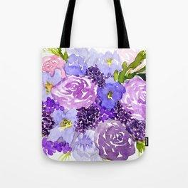 Sweet Purple Watercolor Bouquet Tote Bag