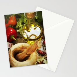 Olive oil, herbs and spices Stationery Cards