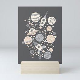 Space Black & White Mini Art Print