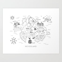 Neverland Map - B&W Art Print