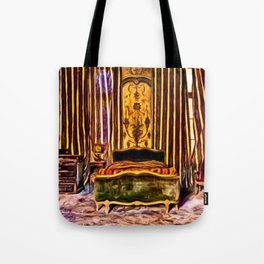 'Before We Were Shadows' Abandoned Lovers Bedroom Portrait Tote Bag