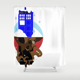 Upside Down Time Travel Shower Curtain