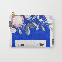 blue girl with raindrops and floral watercolor Carry-All Pouch