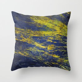 Classic Vintage Blue Faux Marble With Gold Veins Throw Pillow