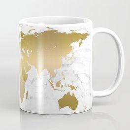Metallic Gold World Map On Marble Coffee Mug