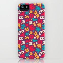 Korean alphabet pattern iPhone Case