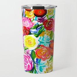 Bright Colorful Floral painting Travel Mug