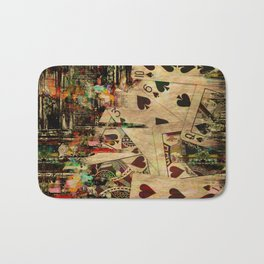 Abstract Vintage Playing cards  Digital Art Bath Mat