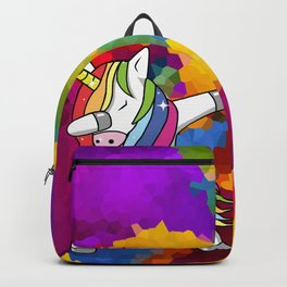 Rainbow Sparkle Dabbing Unicorn Backpack