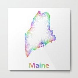 Rainbow Maine map Metal Print