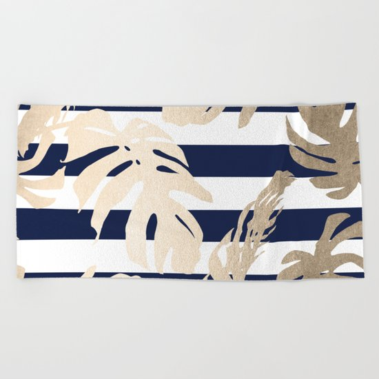 Simply Tropical Palm Leaves on Navy Stripes Beach Towel