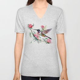 Flying Hummingbird and Red Flowers Unisex V-Neck